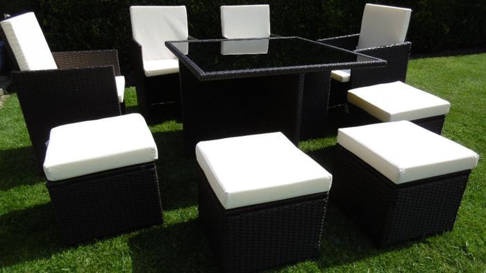 New Mixed Brown Rattan Garden Furniture Set 8 Seater