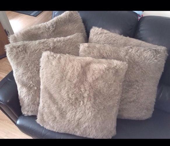 NEXT light brown faux fur cushions