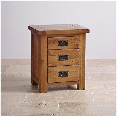 Oak furniture land Original Rustic Solid Oak 3 Drawer