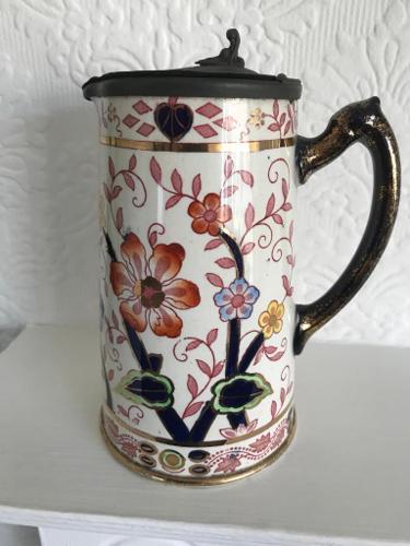 Old Ceramic Jug With Pewter Lid