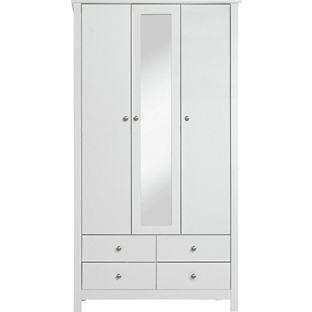 Osaka 3 Door 4 Drawer Mirrored Wardrobe - White.