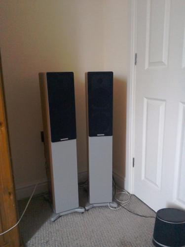 Pair of Cambridge floor standing stereo speakers.