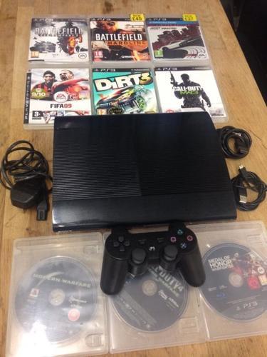 Playstation 3 Super Slimline Bundle 9 Games 1 Dualshock