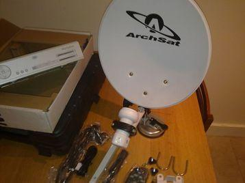 portable satellite system with sky box+remote and leads