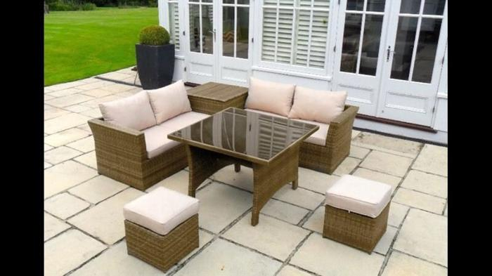 Rattan Conservatory Garden Furniture Glass Table