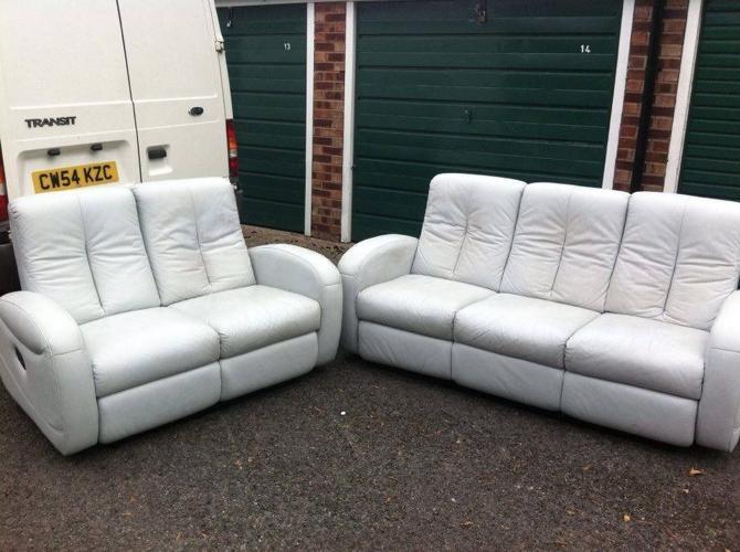 Reclining sofa set - light blue