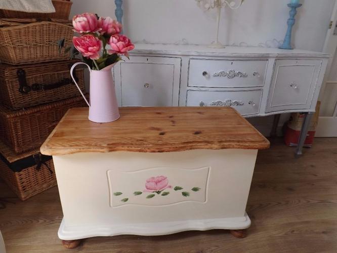 Refurbished pine storage chest
