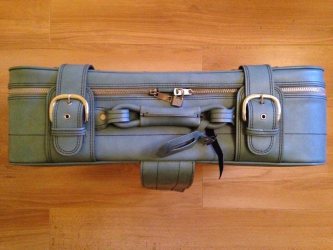 Retro Vintage Blue Leather Suitcase