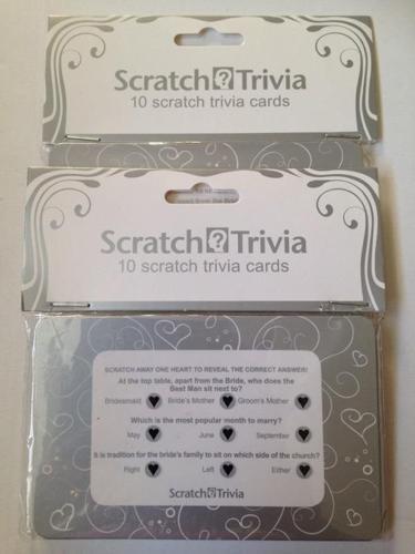 Scratch trivia wedding table decorations