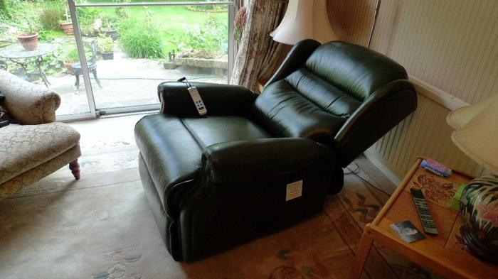 SHERBOURNE Green leather double recliner chair- BRAND