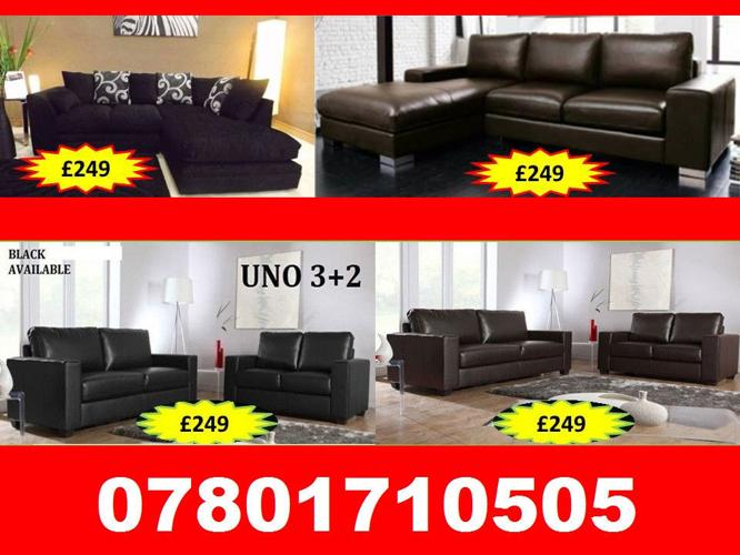 SOFA 3+2 AND RANGE CORNER LEATHER AND FABRIC BRAND NEW
