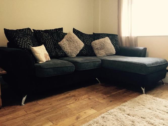 SOLD Grey Corner Scatter Back Sofa