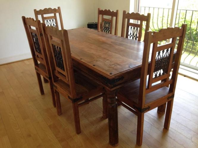 Solid Mango Wood Dining Table and Six Chairs -