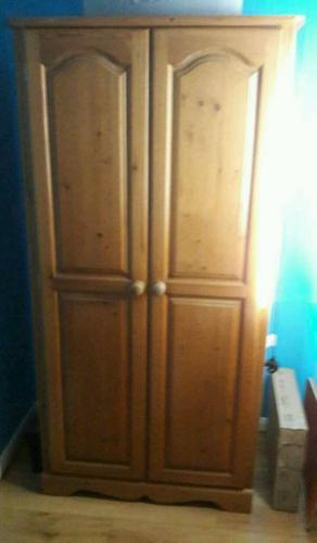 Solid oak wooden wardrobe