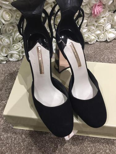 Sophia Webster black suede block heel