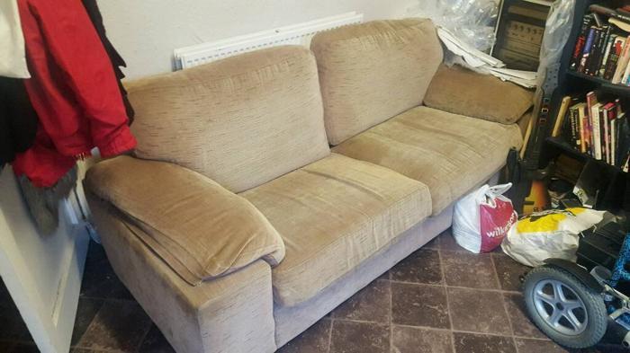 super comfy beige sofa seats 3