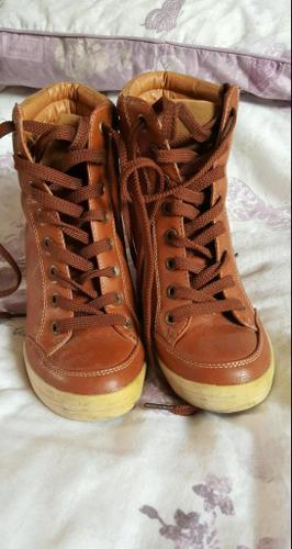 Tan wedge ankle boots