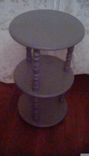 Three tier side table painted in dark grey