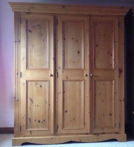 Triple solid pine wardrobe