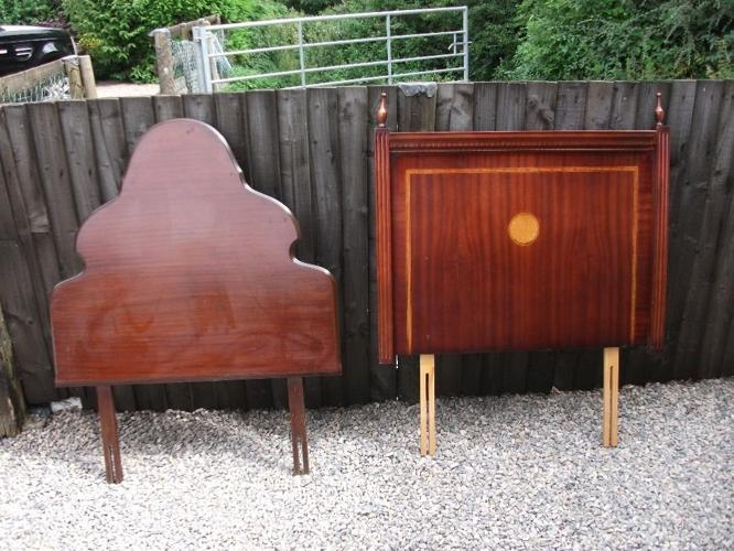 TWO SOLID WOODEN ANTIQUE SINGLE BED HEADBOARDS