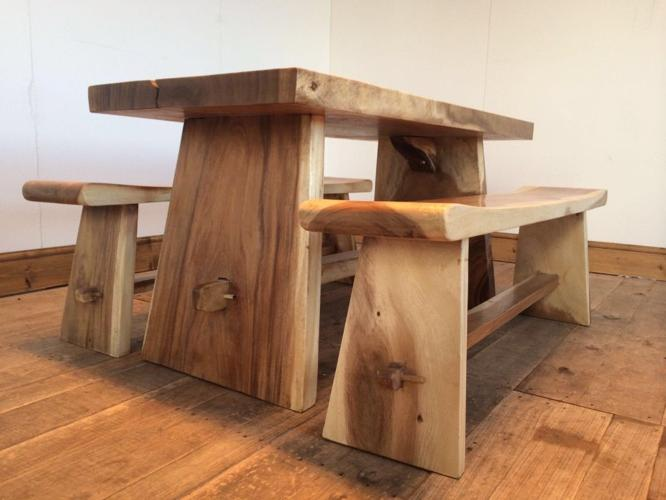 Very Solid Chunky Wood dining table with chairs or