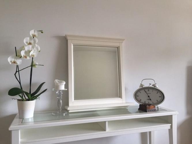White Mirror with Shelf