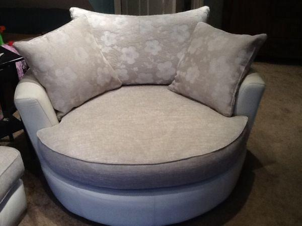 White Stone Swivel Chair 2 Seater Sofa Leather And Fabric