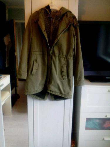 Womans parka coat- kaki, size 10