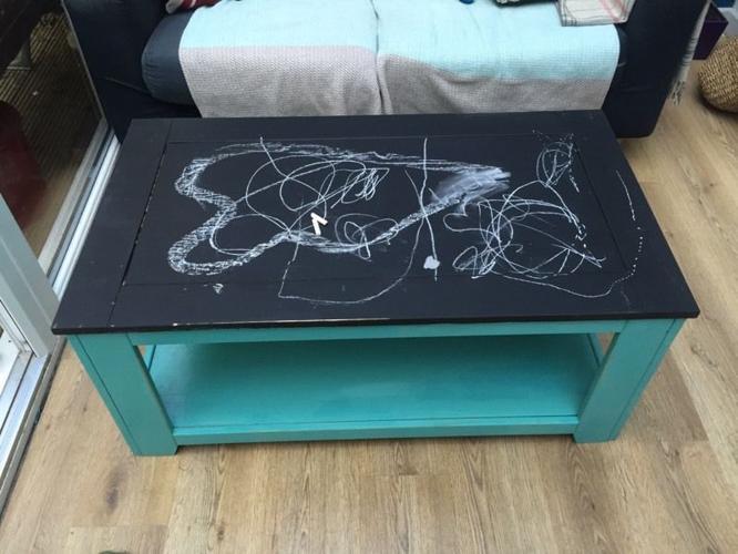 Wooden coffee table - chalk board top.