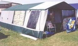 Lovely clean,tidy Trailer tent with electric hook up. Sleeps 6+(2 double bed compartments+2 single compartments .suit kids. It has a huge awning with wardrobe and loo compartments with porta- potty Comes with own kitchen,(sink cooker,storage and gas