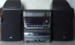 Awesome old-school, stylish JVC stereo. Good condition! CD player (x3) and tape deck (x2) in perfect working order. Sound quality is still amazing. Think you can plug in an iPod etc with a cable in the back (never tried this out) I'm moving house so it's