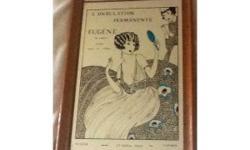 Very unusual framed 1920s hair salon mirror, advertising L'ONDULATION PERMANENTE EUGENE (de londres), permet toutes les coiffures - 23 Grafton Street London. Excellent condition Size - 33cm x 23cm