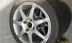 set of 4 alloys with tyres there are fifteen inch. few