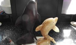 2 Dolphins Rising from the Waves - one mahogany, one