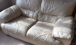 For Sale, 2 X Cream Leather Sofa's, in reasonable