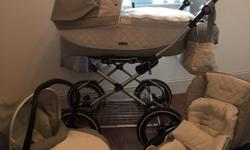 Excellent condition 3 in 1 leather babystyle pram set