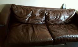 3 seat real leather sofa - brown color. Becoming a bed.