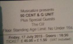 X3 50cent tickets. Standing. Selling due to friends not