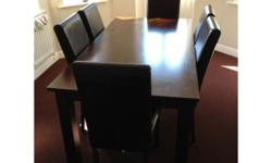 6 Seater, Dark Wood Dining Room Table and Chairs. All