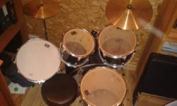 7 piece drum kit including bass, snare, hi-hat, cymbal,