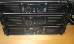 3 qtx sound PRO600 Amplifiers with 3 speakers all with