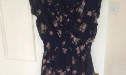 Apricot floral dress for sale - dark blue. Size L that