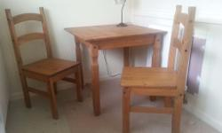Kitchen table and two chairs, made of authentic wood