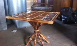 Bamboo Tiki style tables These square tables made from