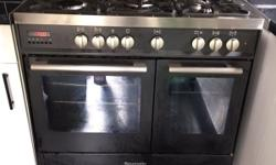 baumatic double Electric oven 5 gas hob cooker,