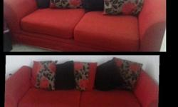 1 sofa with 5 cushions and 1 sofa with 4 cushions in