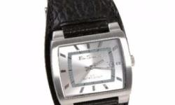 Quartz analogue movement Rectangular case Silver dial