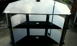 Black and chrome glass tv stand Excellent condition Can