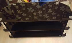 Black glass and chrome, 3 tier tv unit, holds up to 42