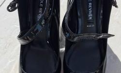 NEXT size 8(42), wide fit, black patent, heeled, court